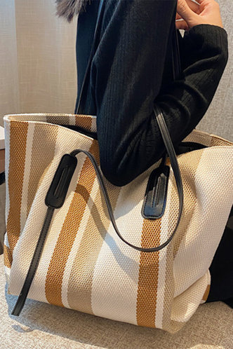 front_Striped Patchwork Striped Tote Bags