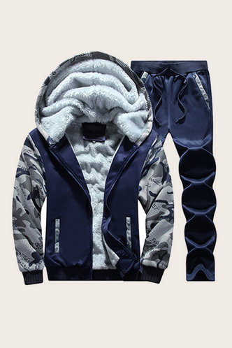 front_Casual Camouflage Navy Blue Men Pants Set