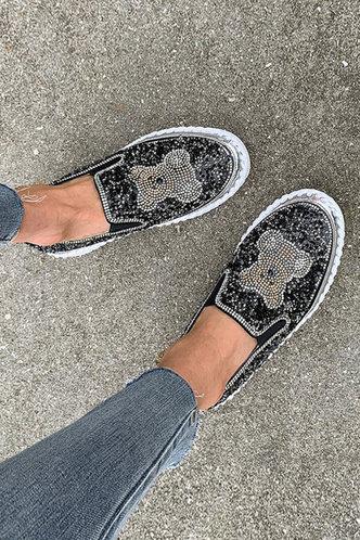 back_Lenore Esther Black Canvas Shoes