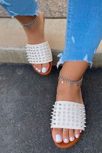 front_Arabel Erica White Eyelet Decor Slide Sandals