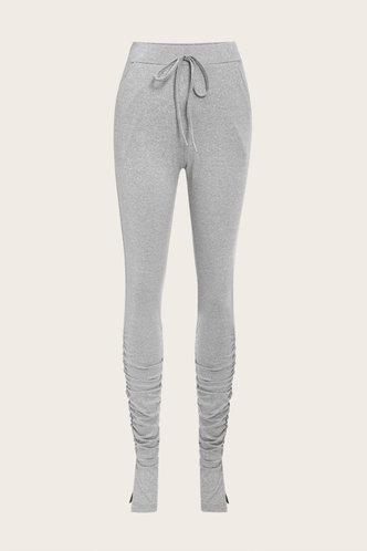 back_Mid Waist Plain Shirred Pencil Pants Light Grey Leggings