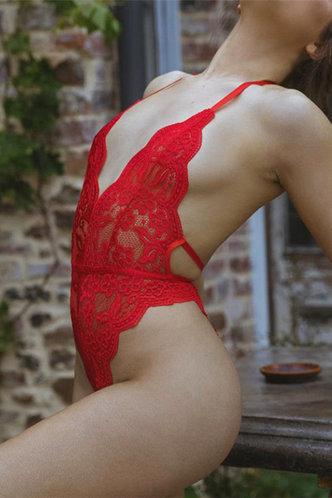 back_Halter Red Bodysuits