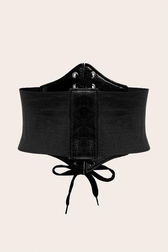 back_Madeline Elaine Black Lace Up Front Belt