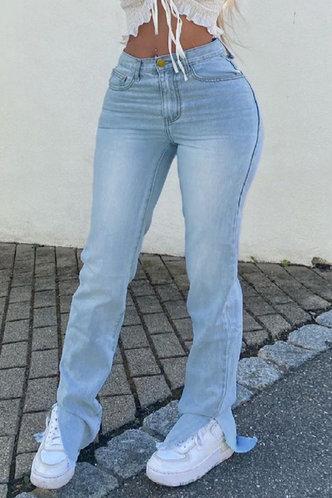 front_Mid Waist  Split Long Flare Leg Wash Light Blue Jeans