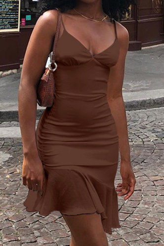 front_Buena Ella Brown Flounce Hem Slip Dress