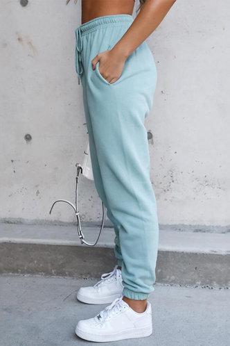 back_Mid Waist Plain Blue Sweatpants