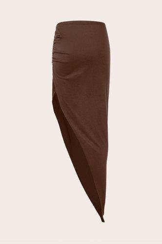 back_Mid Waist Plain Shirred Dark Brown Skirts