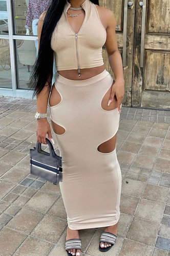 front_Solid Hollow Out Regular Sleeve Zipper Up Khaki Skirt Sets