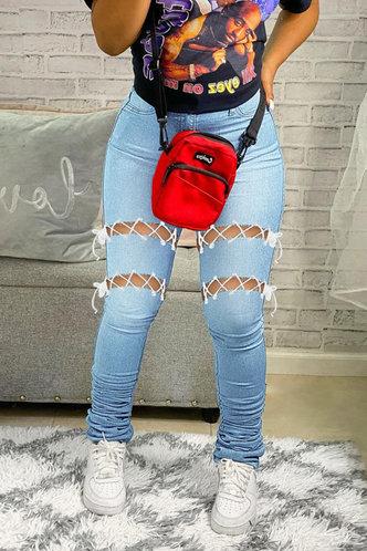 front_Mid Waist Plain   Flare Leg Wash Light Blue Jeans
