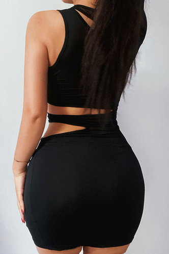 back_Bernice Laget Black Cutout Waist Split Hem Dress