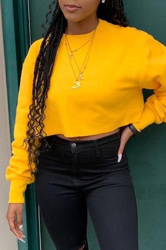 front_Street Crew Neck   Yellow Sweatshirts & Hoodies