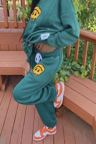 back_Smily Drawstring Green Sweatshirt Sets