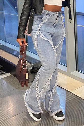 front_High Waist Plain Pocket Pencil Pants Wash Light Blue Women Jeans