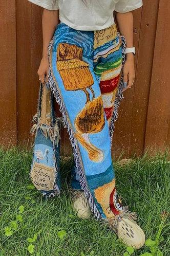 back_Mid Waist Graphic Print Tassel Straight Multicolor Pants