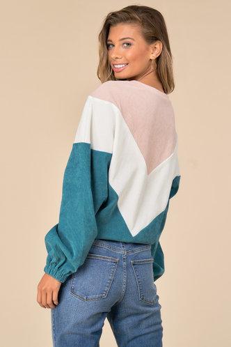 back_Casual Boat Neck Color Block Shirred Multicolor Chevron Sweatshirts & Hoodies