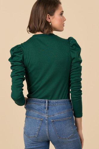 back_Oralie Dark Green Gigot Sleeve Tee