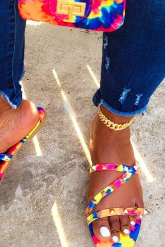back_Gail Garan Tie Dye Thin Strap Slide Sandals