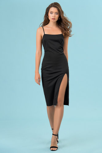 front_Party Girl Black Midi Dress