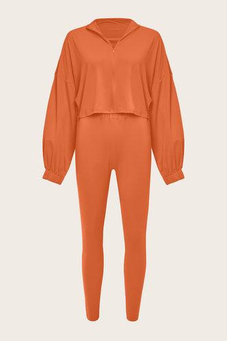 back_Elastic Band Pullover and Orange Plus Size Pants Sets