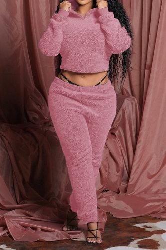 back_Plain Lace Up Pullover Pink Pants Sets