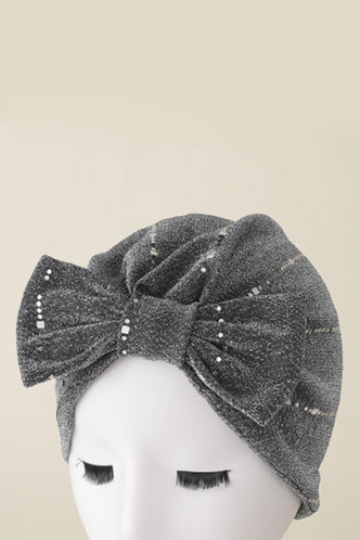 back_Casual Shirred Bowknot Grey Hats & Gloves