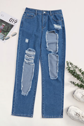 back_Mid Waist   Long Conventional Hole Wash Blue Jeans