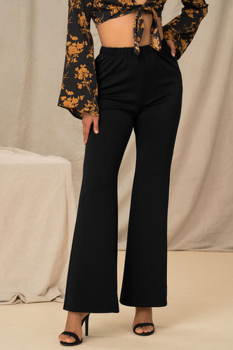 back_On Sleek Black Flare Leg Pants