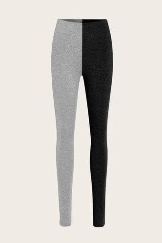 back_Mid Waist Color Block Pencil Pants Black And Grey Leggings