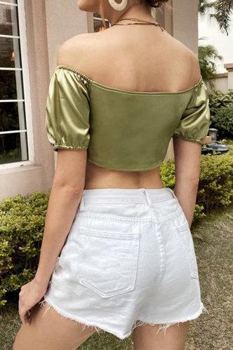 back_Hannah Ostum Green Tie Front Crop Top