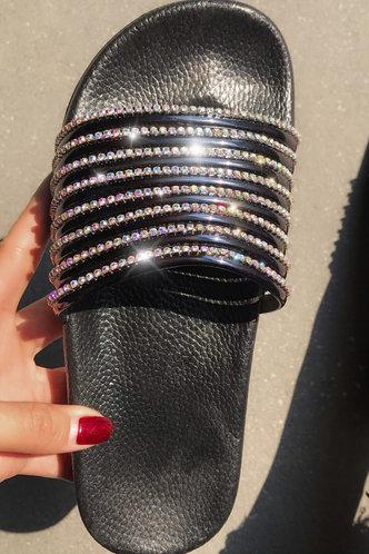 back_Flat Open Toe Black Slides & Flip Flops
