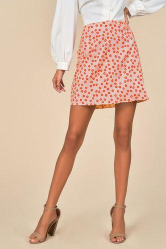 back_Blair Flare Pink Floral Print Skirt