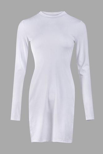 back_Street Plain Split Regular Sleeve White Tee