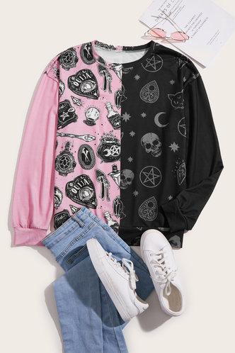back_Sporty Crew Neck Graphic  Pink And Black Sweatshirts & Hoodies