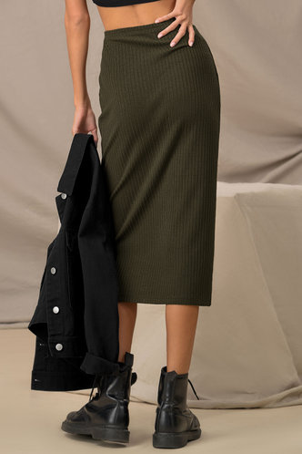 back_Pencils Down Army Green Pencil Skirt