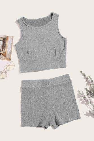 back_Pullover Grey Sweatshirt Sets