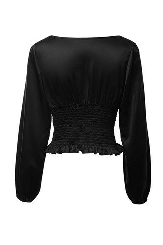 back_Paris At Night Black Shirred Blouse