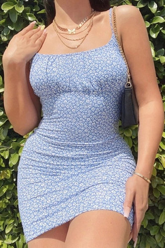 front_Jodie Eileen Blue Floral Print Bodycon Dress