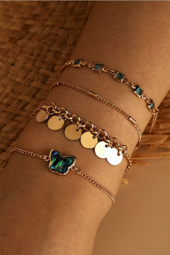 front_Sophie Eleanore Gold Butterfly Charm Bracelet 4pcs