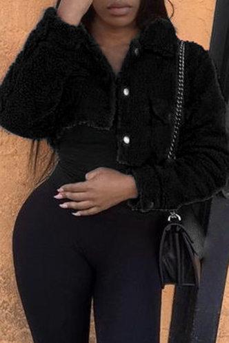 front_Street Plain Black Outerwear