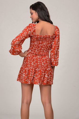 back_The Heart Of Angel Red Floral Print Mini Dress