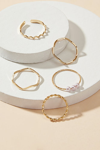 front_Rae Elaine Gold Faux Pearls Decor Ring 5pcs