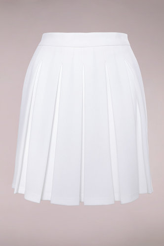 front_Victoria White Pleated Skirt