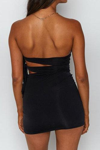 back_Catherine Kuvan Black Tube Cutout Side Bodycon Dress