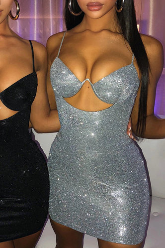back_Irene Eden Silver Glitter Cutout Cami Dress