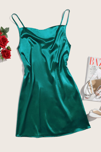 front_Emerald Green Cowl Neck Slip Dress