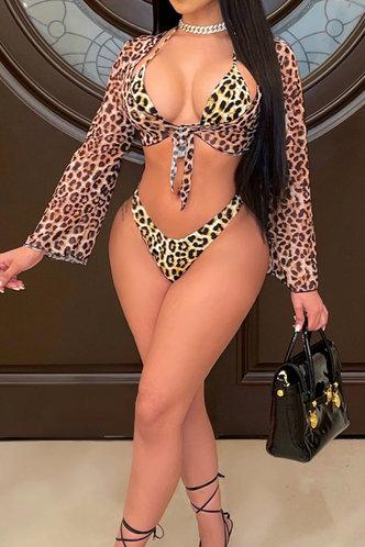 front_Lynn Ella Brown Leopard Print Bikini