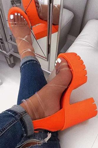 front_Cora Emma Orange Chunky Heeled Sandals