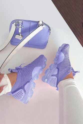 front_Plain Lace Up Flat Round Toe Purple Sneakers