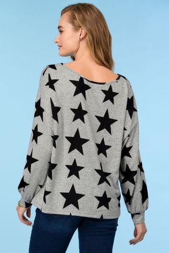 back_Elizabeth Grey Star Floral Print Knit Top