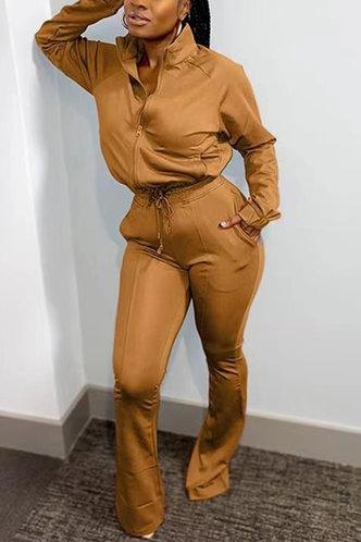 front_Plain Zipper Up Brown Sweatshirt Sets